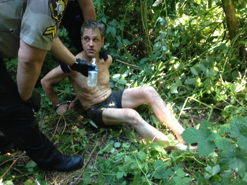 by: WASHINGTON COUNTY SHERIFF'S OFFICE - Washington County Sheriff's deputies apprehended Bret T. Davis, 46, of Hillsboro on Saturday afternoon after the burglary suspect fell out of a tree in which he was apparently hiding.