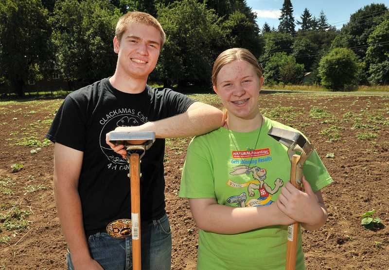 by: PAMPLIN MEDIA GROUP: VERN UYETAKE - Conor and Caitlin McCabe spend about two hours each day throughout the summer tending to the pumpkins in their familys patch.