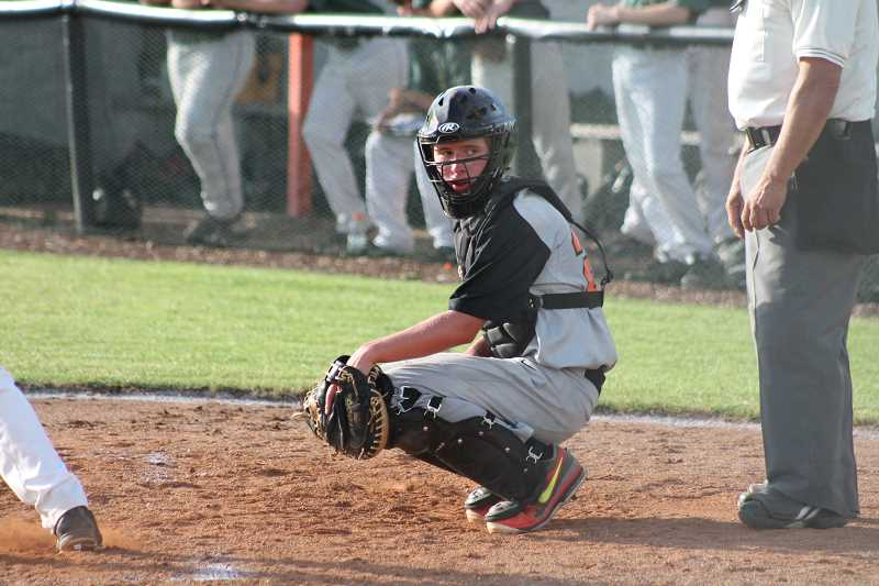 by: JIM BESEDA/MOLALLA PIONEER - Braden Hibbs is seeing action with the Molalla Junior State summer baseball team and is hoping to play his way onto the Indians' high school varsity team next spring as an incoming freshman.