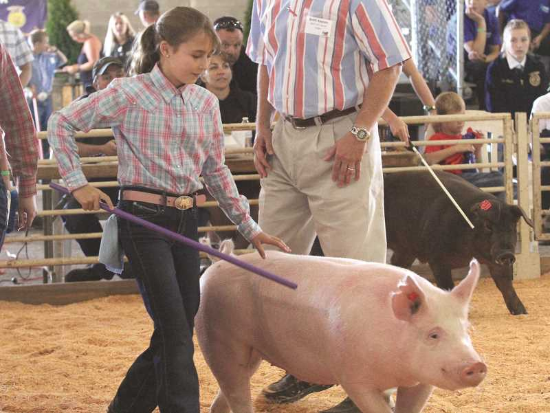 by: LINDSAY KEEFER - Madelyn Nicklous, of the St. Paul Green Grazers 4-H group, shows her pig at the Marion County Fair last week. She won first place in her class for her swine and went on to place third for swine showmanship in the junior division.