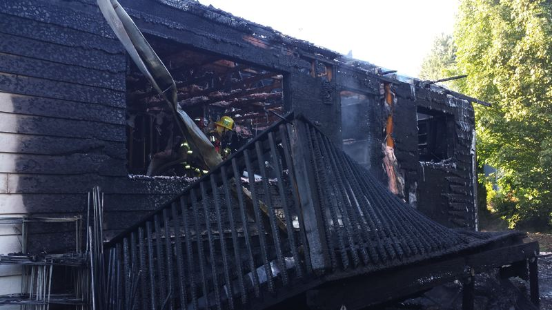 by: TUALATIN VALLEY FIRE & RESCUE - A Tualatin Valley Fire & Rescue investigator is working to determine the cause of a fire that engulfed a Beaverton residence early Tuesday morning,  displacing an adult resident and his pet and causing approximately $250,000 in damages.