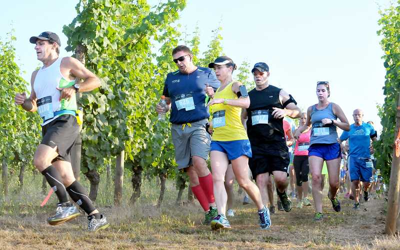 by: SETH GORDON - Contestants in the Fueled By Fine Wine Half Marathon (above) turn the corner at Crumbled Rock Vineyard early on in the race Sunday morning. 1,163 runners finished the 13.1-mile race, which began and ended in Dundee-Billick Park.