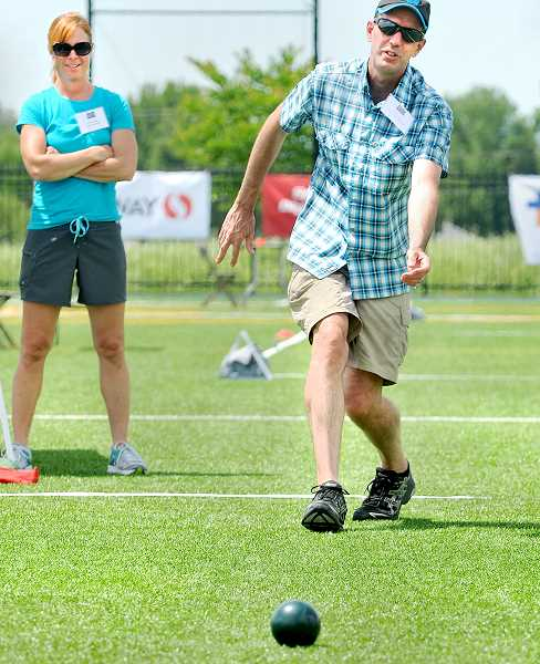 by: GARY ALLEN - Special Olympics - Dundee Mayor Ted Crawford competed in the Oregon Mayors Bocce Cup Friday alongside 12 other mayor teams to  support the Special Olympics. Crawford was eliminated in the first round after scoring six points in the three-game round robin format.