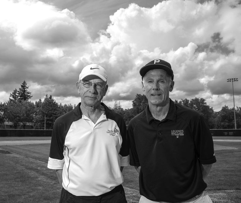 by: NEWS-TIMES PHOTO: CHASE ALLGOOD - Pacific baseball coach Greg Bradley (right) and softball coach Tim Hill are both retiring this year. Bradley coached for 19 seasons and Hill coached for 12.