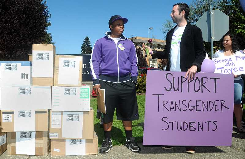 by: GARY ALLEN - George Fox students and others staged a rally last spring to support Jayce in his effort to secure on-campus housing with male students.