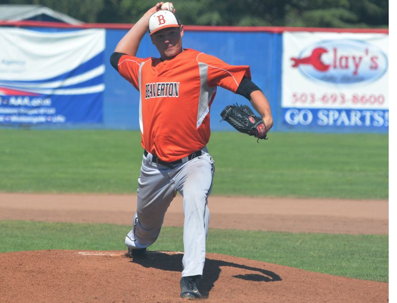 by: TIMES PHOTO: MATT SINGLEDECKER - Beaverton junior pitcher Andrew Carter threw a complete game, five-hitter against Hillsboro on Monday to help the Beavers take the OIBA contest.