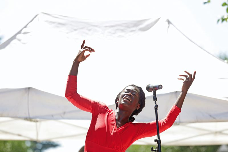 by: TIMES PHOTO: JONATHAN HOUSE - Oluyinka Akinjiola performs 'Sojourners Truth' during the Ten Tiny Dances event in Beaverton Saturday.