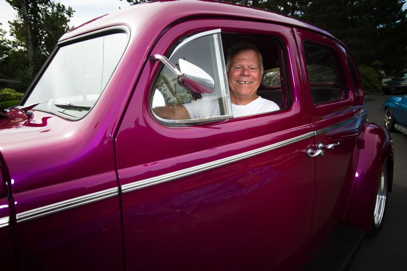 by: TIMES PHOTO: JONATHAN HOUSE - Ray Baldwin, the man who started it all, in his 1940 'old' Nash.