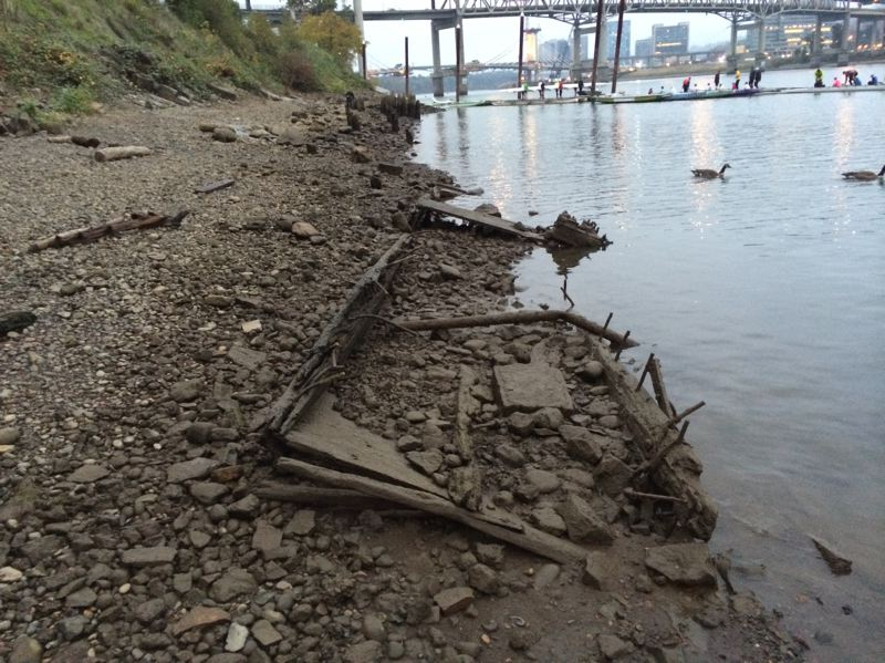 by: PHOTO COURTESY HUMAN ACCESS PROJECT - The nonprofit trying to create an accessible beach southeast of the Hawthorne Bridge found this old dock buried in the river bottom. Heavy equipment will be used Friday to remove it from the site, which the Human Access Project calls 'Audrey Beach.'