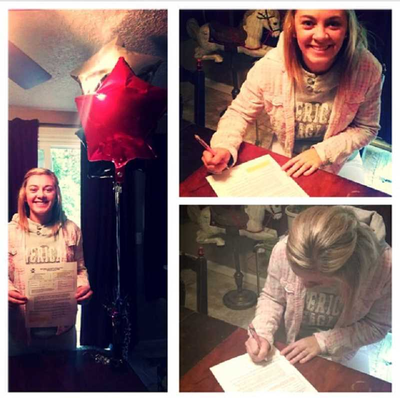 by: PHOTO COURTESY OF ASPEN FULLER - Aspen Fuller signs her letter of intent to play volleyball at Mount Hood Community College. Fuller, an outside hitter and defensive specialist, started her volleyball career at Crook County, but graduated from Sam Barlow High School in Gresham.