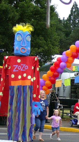 by: CONTRIBUTED PHOTO: NINA BRADFORD - Giant puppets, this one designed by artist Nina Bradford, make appearances every year at the Estacada Summer Festival. This years new puppet will be a giant puppy dog.