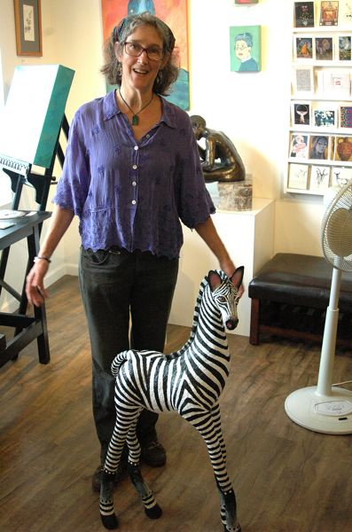 by: OUTLOOK PHOTO; BEVERLY CORBELL - Artist Kolieha Bush is planning to bring her paper mache zebra, on display at the Spiral Gallery, to the Estacada Summer Festival.
