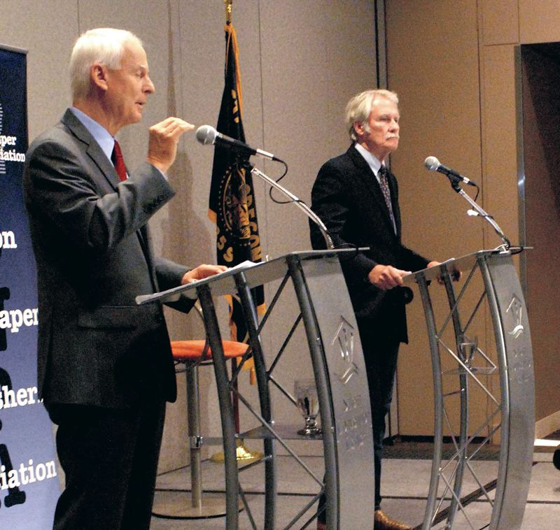 by: COURTESY OF ONPA/SCOTT WASHBURN - State Rep. Dennis Richardson made a point during Fridays debate with Gov. John Kitzhaber before newspaper publishers and editors in Salem. It was the first joint appearance of the two gubernatorial candidates in the 2014 election.
