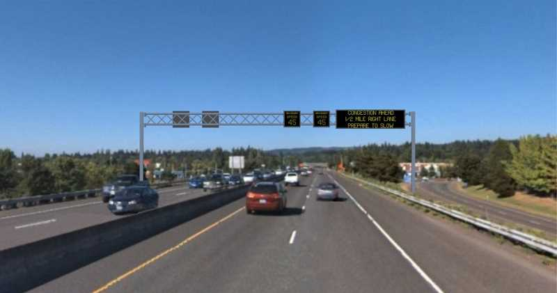 ODOT released this simulation of how the traffic signs will work, telling drivers on Highway 217 to slow down as congestion increases.