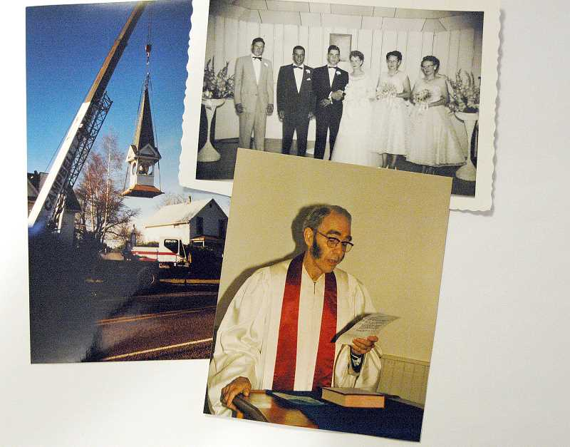 by: CONTRIBUTED - A selection of photos that have surfaced from throughout the churchs history. Top left, work on the steeple leading up to the 1989 centennial celebration, top righ the marriage of Bill and Marge Varitz in the church in 1955, bottom right, Pastor Vernon Ross in the 1980s.