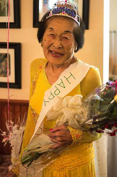 by: TIMES PHOTO: LACEY JACOBY - Prominent Portland Japanese-American Alice Sumida celebrated birthday No. 100 on July 18. She took up ballroom dancing at age 88.