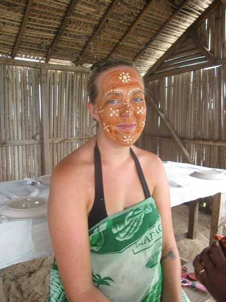 by: COURTESY OF KARA LEAVITT - Kara Leavitt wears a clay mask, which is traditionally used as sunscreen in the northern part of Madagascar.