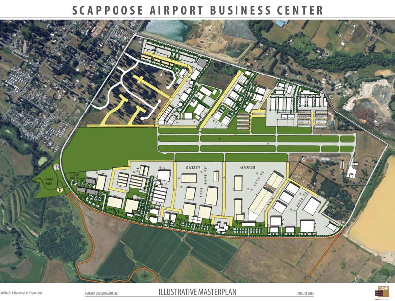 by: SUBMITTED - This conceptual illustration shows Airpark Development LLC's aspirations for Scappoose Industrial Airpark. A regional training facility had been envisioned for 200 acres in the northwest quadrant of airport-adjacent land, and PCC has considered construction of an education center on 20 acres north of the runway's eastern termination. Land-use approval delays have likely compromised PCC's commitment to build in Scappoose, for now.