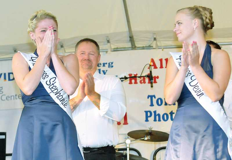 by: GARY ALLEN - Reigning Queen – A tearful Stephanie Apple was pronounced queen at the Newberg Old Fashioned Festival Thursday evening. Apple said she looks forward most to talking with the young aspiring princesses during the next year.