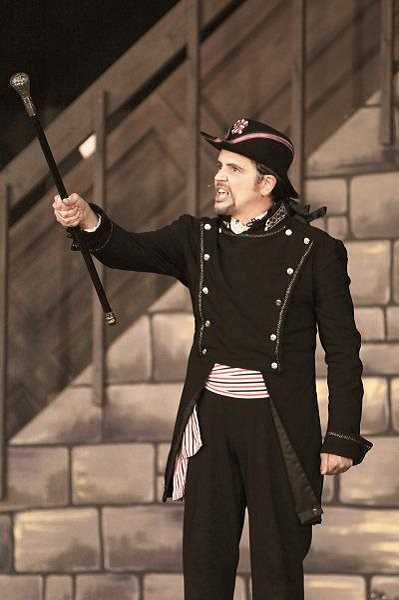 Photo Credit: COURTESY OF HEATHER GIFFORD - Javert, portrayed by Matthew Flanagan promises to bring Jean Valjean (Nathan Doyel) back to justice in July's performance of  'Les Miserables.'