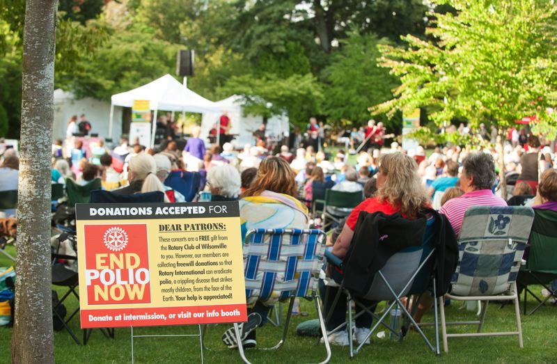 by: SPOKESMAN PHOTO: JOSH KULLA - The Wilsonville Rotary Summer Concert Series is the club's main fundraising effort of the year and is focused on the fight against polio.