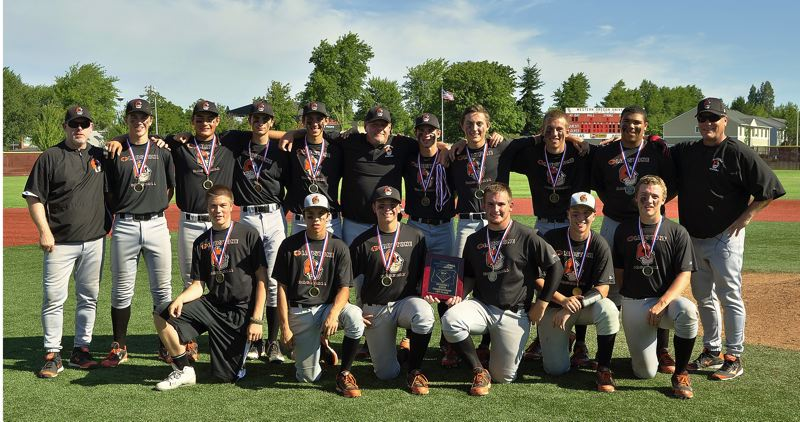 by: JULIE SALTARES - Gladstone High School baseball players did themselves and their community proud last weekend, winning the state championship in the top division of Junior State Baseball. Pictured are members of the standout team: (front row, left to right) Branden Loehr, Daniel Contreras, Devin Neer, Austin Krieger, Trey DePretto and Tyrus Coady; and (back row) coach Mark Rourke, Logan Saltares, Trask Telesmanich, Ryan Kelner, Andrew Gross, coach Rob Staehle, Carter Watts, Collin Betnar, Ben Fox, Darnell Washington and head coach Casey Webster.