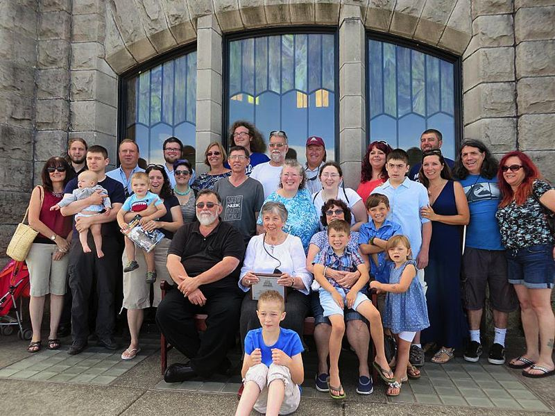 by: CONTRIBUTED PHOTO - Fours generations of Royals and three members from the Lund family celebrate their ancestors with a plaque at Vista House on Sunday, July 27.