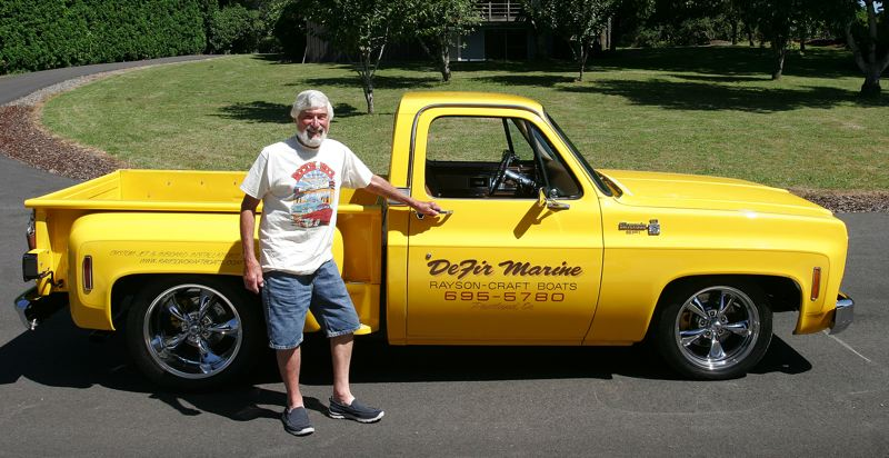 by: OUTLOOK PHOTO: JIM CLARK - This is Larry Muck of Troutdale and the 1978 yellow Chevy Silverado Stepside he restored in tribute to his good friend, Ray DeFir.
