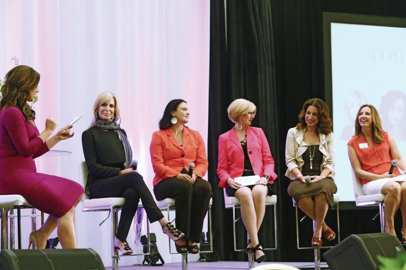 by: COLLEEN CAHILL STUDIOS - Keri Murphy, left, leads the community panel of Michelle Robson, Jensine Larson, Kelly Bean, Dafna Michaelson and Gail Watson.