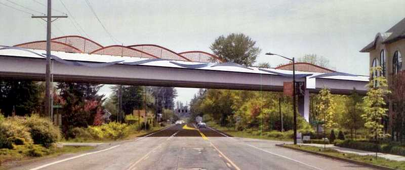 by: SUBMITTED - Looking forward - Slated to cross Highway 99W at the 'fish hook' in Dundee, the bridge design is still a work in progress, although the theme has been selected and will represent the Willamette River and the Dundee hills.
