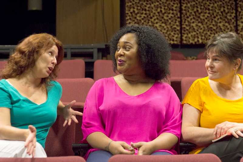 by: LACEY JACOBY - TAKING DIRECTION  - 'Best Little Whorehouse in Texas' director Peggy Taphorn (left) chats with Carmen N. Brantley-Payne, who plays Jewel, Miss Mona's maid and cook at the Chicken Ranch, and Sharon Maroney.