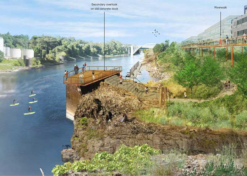 An artist's rendering of the proposed Riverwalk along the former Blue Heron paper mill and overlooking Willamette Falls. Planners believe the approximately $30 million project is a 