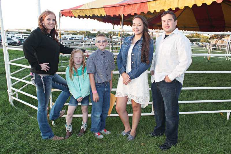 by: HOLLY GILL/MADRAS PIONEER - The top Fair Talent Show winners were, from left, adult division winner, Teresa Baggett and daughter Emma; kids division winner, Justin Plant; and youth division winners Brianna Sumner and Onasis Adame.