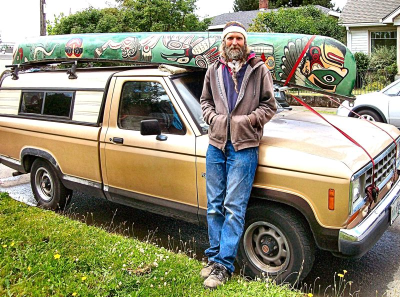 by: RITA A. LEONARD - Stephen Cutler has painted his canoe with images of native Pacific Northwest artistry. It often can be seen near S.E. 52nd and Steele in Woodstock.