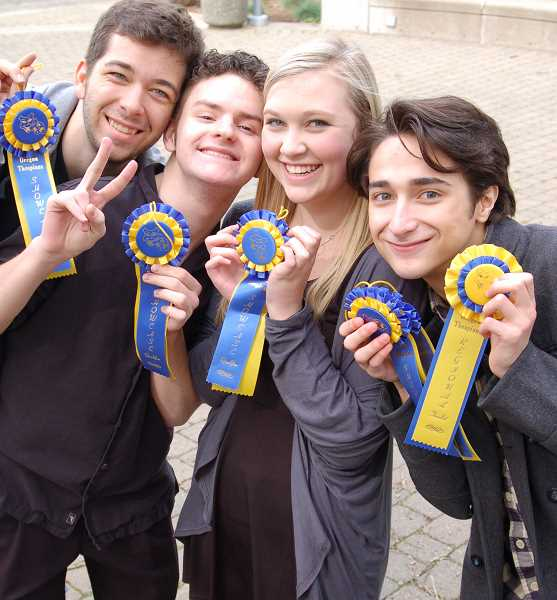 Photo Credit: SUBMITTED PHOTO: AMY HAROLDSON - Lakeridge students who auditioned in a state showcase at the Oregon Thespians were, from left: Daniel Barber, Christian Mitchell, Caroline Haroldson and Lucas Friedman. Friedman also walked away with first place for solo acting.