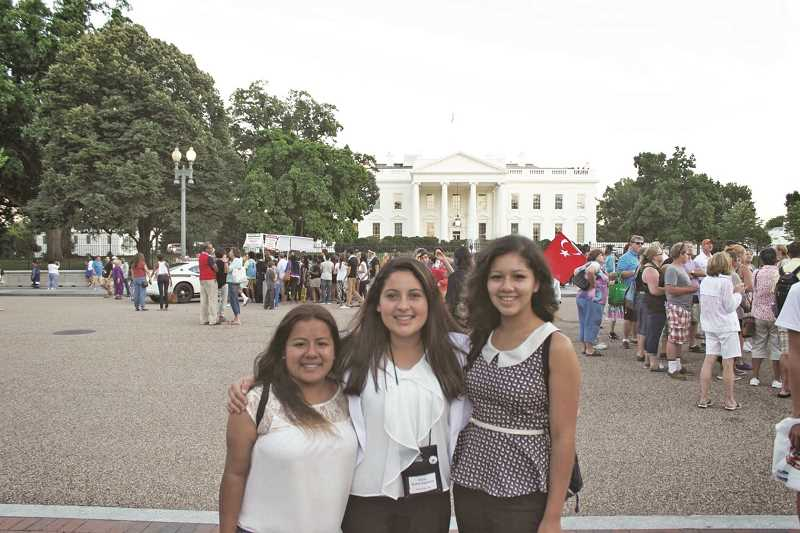Photo Credit: SUBMITTED PHOTO - Stephanie Garcia Cruz, Kricia Ruano andm Daniela Ramirez Arroniz attended a Student Leadership Summit in Washinton, D.C. as part of their internship through Bank of America. The internship is eight weeks, paid and places recent high school grads with a local nonprofit, like Habitat for Humanity.