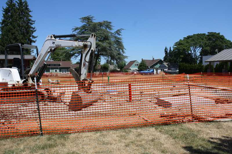 Photo Credit: PEGGY SAVAGE - Construction on Molalla's Fox Park Splash Pad has been underway since June. This photo was taken two weeks ago.