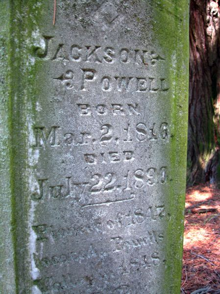 Photo Credit: OUTLOOK PHOTO: BEVERLY CORBELL - The gravestone of Jackson Powell states he came to the area in 1847 and discovered Powells Valley in 1848.