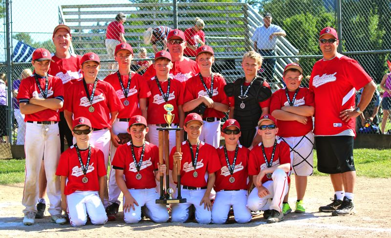 Photo Credit: SUBMITTED - Redland Red Sox pose proudly with their third place hardware from the 2014 Clackamas County Junior Baseball Junior American Championship Tournament. Pictured are: (first row, from left) Brandon OMalley, Robert Boland IV, Jonathan Schaffer, Spencer Townsend and Joey Whitehill; (second row) Ashton Stalheim, Eric Bergan, Mitchell Castor, Colby Cowan, Ryan Henkel and Joshua Jordal; and (back) coach Dean Bergan, coach Keven Schaffer and head coach Dave Jordal.