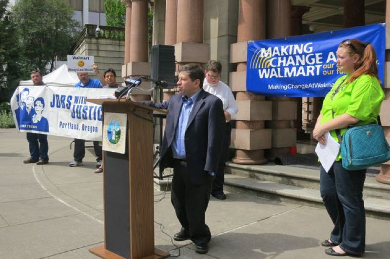 Photo Credit: COURTESY CITY OF PORTLAND - Commission Steve Novick held a press conference with labor and faith organization in May when one of the city's Wal-Mart bonds expired.