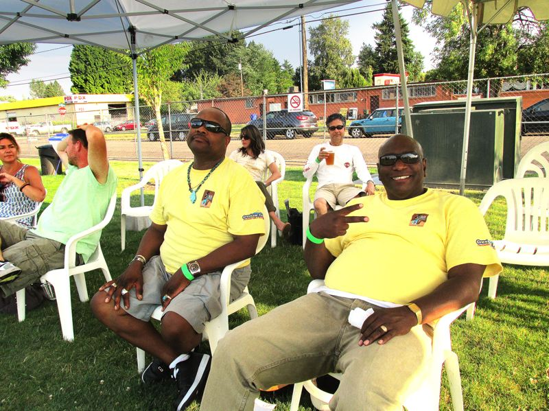 Photo Credit: OUTLOOK PHOTO: BEVERLY CORBELL - Long-time festival volunteers Wesley Thompson, center, and Clarence Larkins, right, said the music was superb this year at the Mt. Hood Jazz Festival.