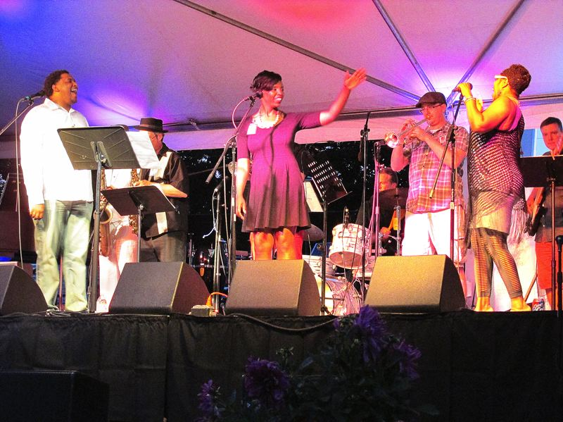 Photo Credit: OUTLOOK PHOTO: BEVERLY CORBELL - The band SoulCity gave a rousing performance as they closed out the Mt. Hood Jazz Festival Saturday, Aug. 2.