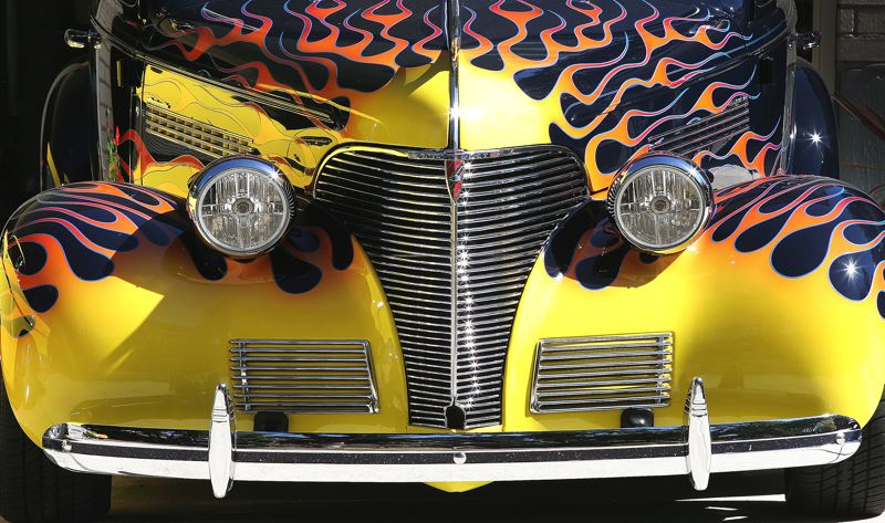 Photo Credit: JIM CLARK - Farris owns this 1939 Chevy Master 85, and had it painted with these flames.