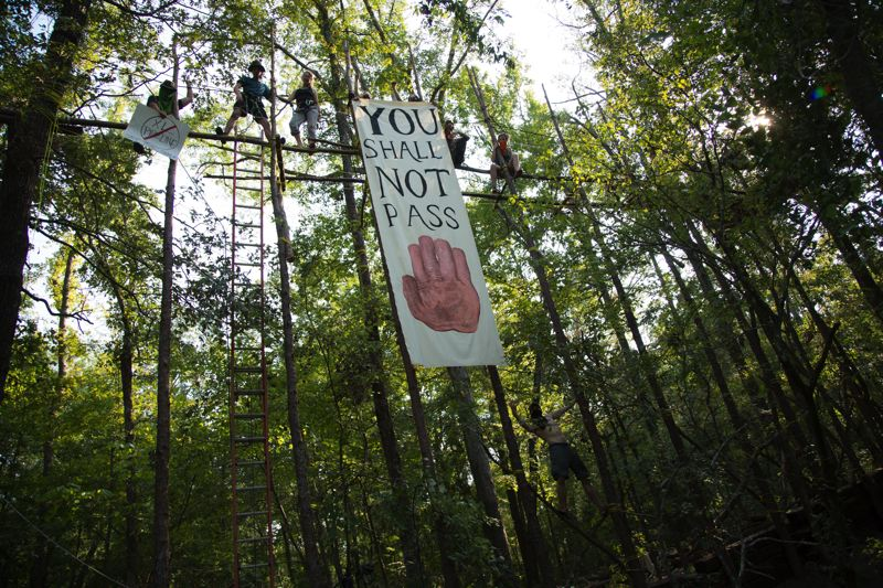 Photo Credit: PHOTO  COURTESY OF PORTLAND ECO-FILM FESTIVAL - Protesters in Texas try to stop construction of the Keystone XL pipeline.
