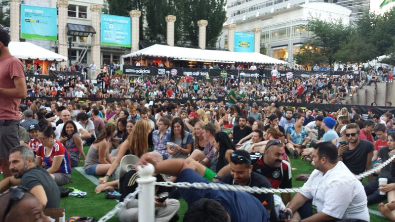 Photo Credit: JOSEPH GALLIVAN - Fans wait in Pioneer Courthouse Square Tuesday evening for a free concert by Cold War Kids.