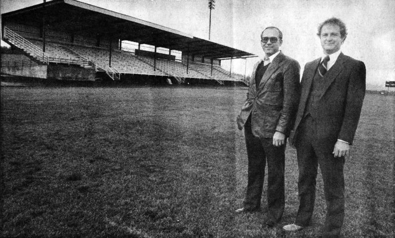 Photo Credit: NEWS-TIMES FILE PHOTO - Carl Heisler (left) and Tim Schauermann pose in front of the stadium that was completed at Forest Grove High School in 1984. Heisler was committee president and Schauermann was construction manager of Citizens for a New Athletic Stadium, a community group that was integral in the fundraising and construction of the stadium.