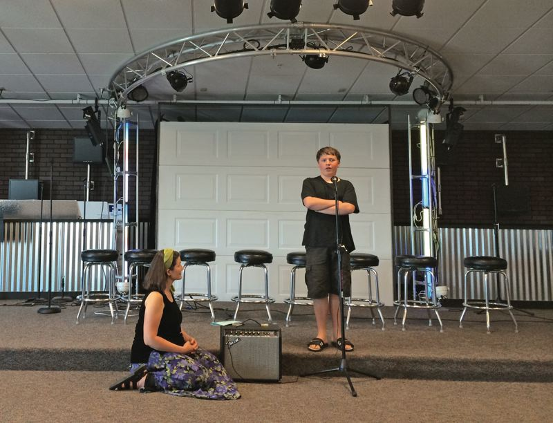 Photo Credit: TIMES PHOTO: CAITLIN FELDMAN - 13-year-old Justin Nelson performs his monologue while coach Anneliese Chapman stands by. Nelson has participated in the Camera Acting 4 All camp for four years.