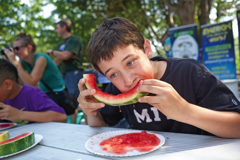 Photo Credit: TIMES PHOTO: JAIME VALDEZ - Ethan Stein, 12, of Portland, slurps watermelon in the watermelon eating competition of the Tualatin Crawfish Festival.