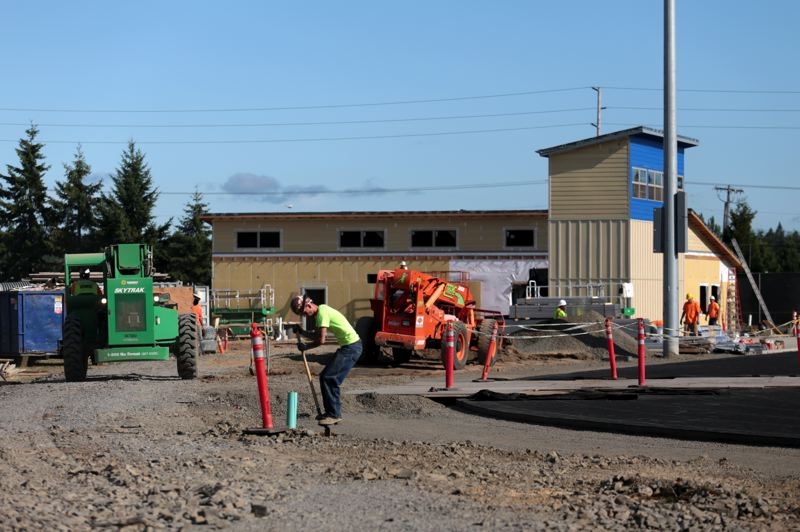 Photo Credit: TIMES PHOTO: JONATHAN HOUSE - Construction continues at Valley Catholic High School's athletic field.