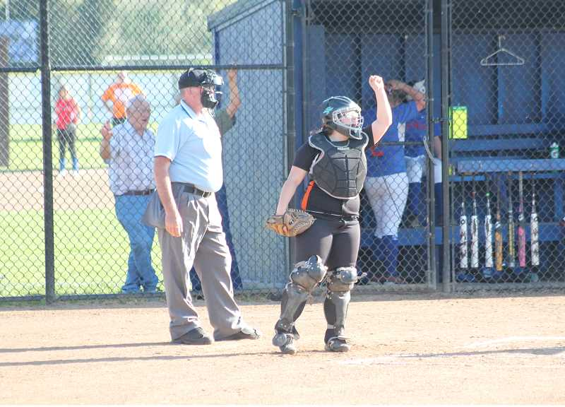 Photo Credit: JIM BESEDA/MOLALLA PIONEER - Molalla's Kenzi Kluken, pictured here in a Tri-Valley Conference game at La Salle Prep in May, batted .471 in 38 summer league games for the Stealth Fastpitch club team out of Milwaukie.